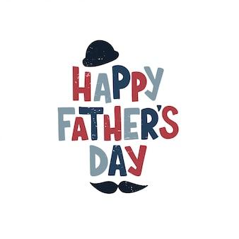 手描きの幸せな父の日をレタリングします。素晴らしいホリデーギフトカード