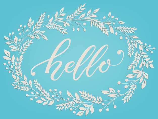 Hand drawn lettering hello. elegant modern handwritten calligraphy with floral frame.