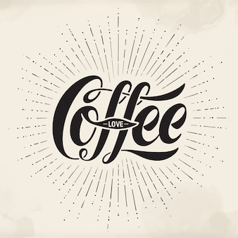 Hand-drawn lettering inscription coffee love on watercolor background. typographic and calligraphic.