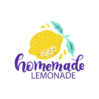 Hand drawn lettering inscriptions about homemade lemonade with big lemon