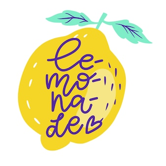 Hand drawn lettering inscriptions about lemonade on the whole lemone with leaves. sticker