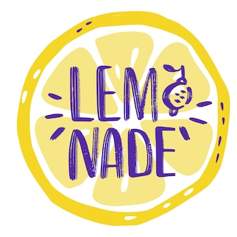 Hand drawn lettering inscriptions about lemonade with slice of lemon.  sticker