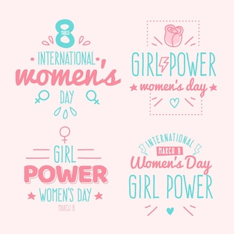 Hand drawn lettering international women's day badge collection