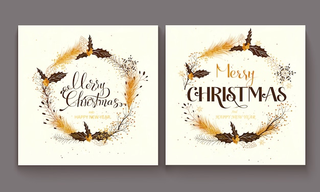 Hand drawn lettering merry christmas illustration.