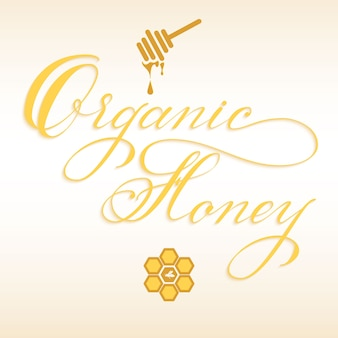 Hand drawn lettering organic honey with honey dipper