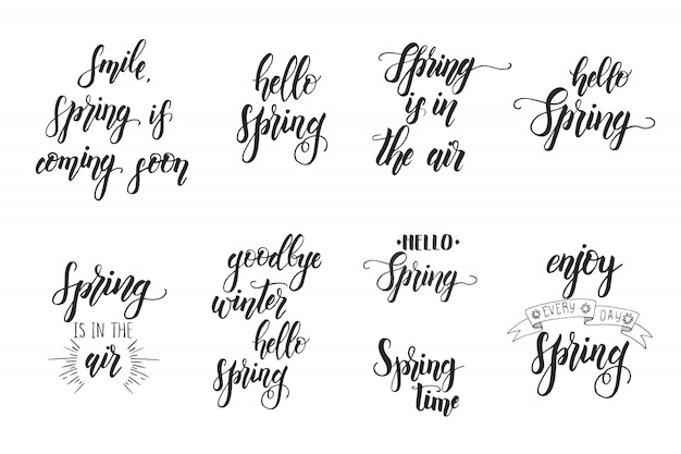 Hand drawn lettering phrase for spring. motivational quote