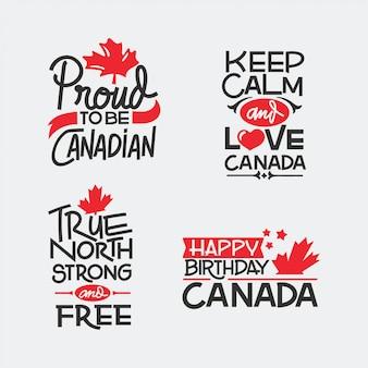 カナダの日の手描きのレタリングの引用。 fêtedu canadaがカナダデーを翻訳