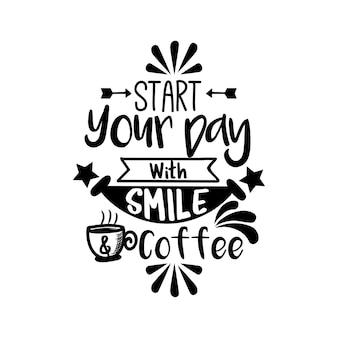 Ручная вычерчивание цитаты с кофе с эскизами