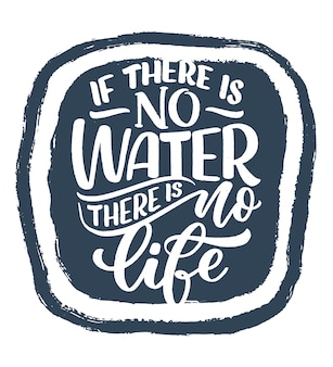 Hand drawn lettering slogan about climate change and water crisis