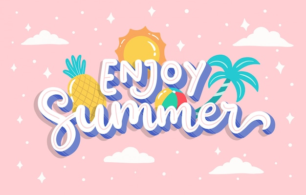 Hand drawn lettering summer background