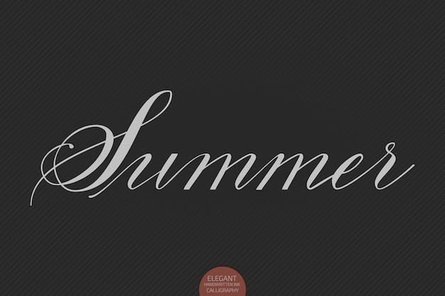 Hand drawn lettering summer. elegant modern handwritten calligraphy.  ink illustration. typography poster on dark background.