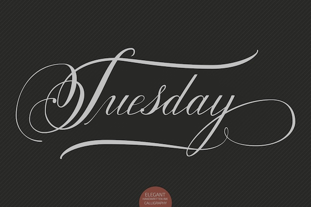 Hand drawn lettering tuesday. elegant modern handwritten calligraphy. vector ink illustration.