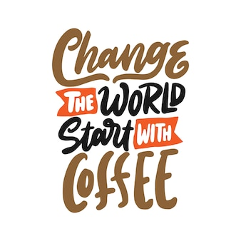 Hand drawn lettering of vintage coffee