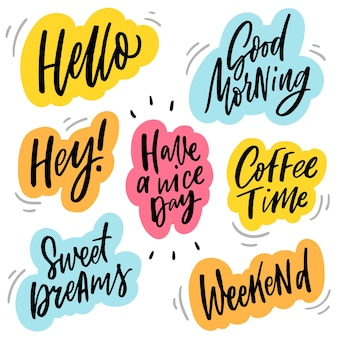 Hand drawn lettering word stickers coffee time
