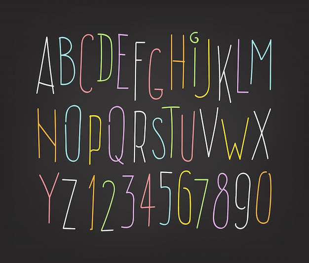 Hand-drawn letters and digits isolated on dark