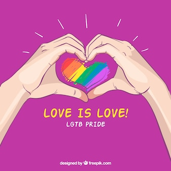 Hand drawn lgtb pride background with hands around heart