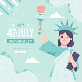 Hand drawn liberty lady character usa independence day illustration background Premium Vector