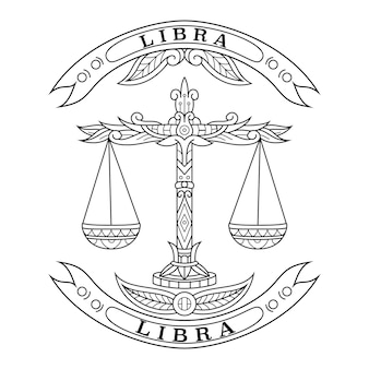 Hand drawn of libra in zentangle style