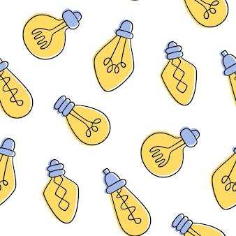 손으로 그린 된 전구 완벽 한 패턴입니다. 낙서 스타일의 노란색 로프트 램프.