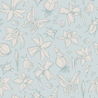 Hand drawn light flowers seamless pattern