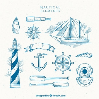 Hand drawn lighthouse with boat and other sailor elements