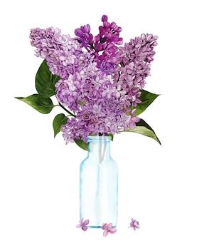 ボトルの手描きのライラックの花束
