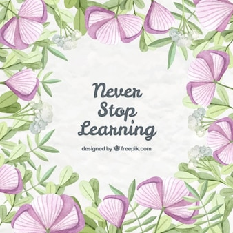 Ручной обращается сиреневые цветы с фразой об обучении