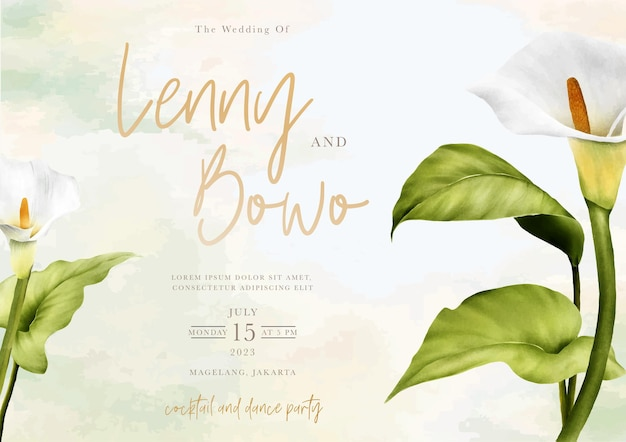 Hand drawn lily floral wedding invitation card
