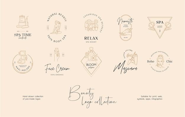 손으로 그린 라인 아트 아름다움 벡터 로고 디자인 템플릿 모음