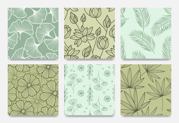 Hand drawn line art botanical pattern set