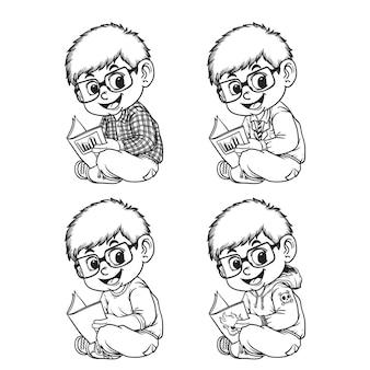 手描きの線画漫画イラスト、本を読む子どもたち、さまざまな服