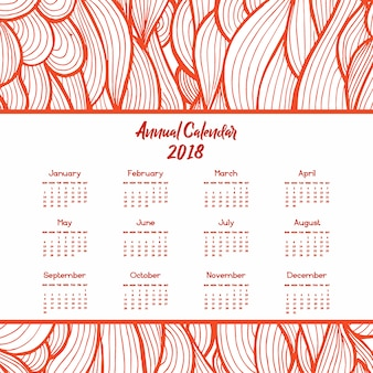 Hand drawn line art colorful calendar designs