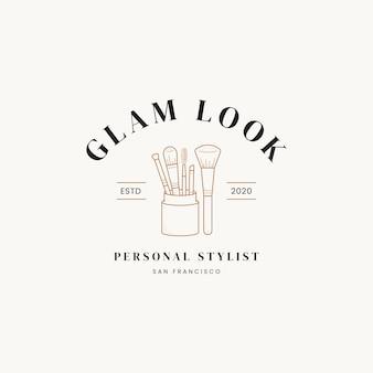 Hand drawn line art cosmetics vector logo design template illustration of elegant signs and badges