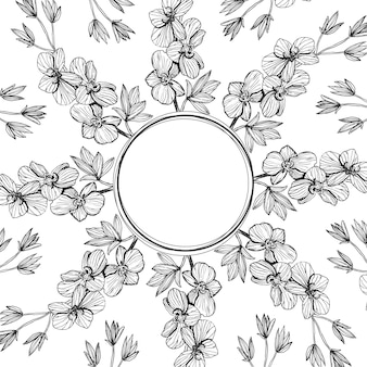 손으로 그린 라인 아트 꽃 프레임 패턴 컬렉션