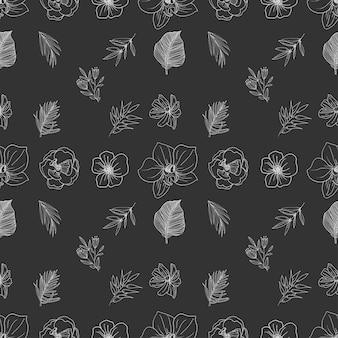 손으로 그린 라인 아트 꽃 원활한 패턴 컬렉션