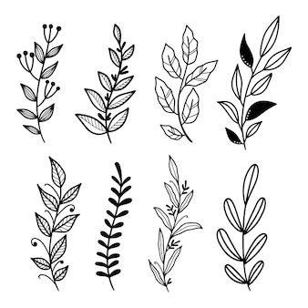 Рисованной линии искусства листьев клипарт векторная коллекция