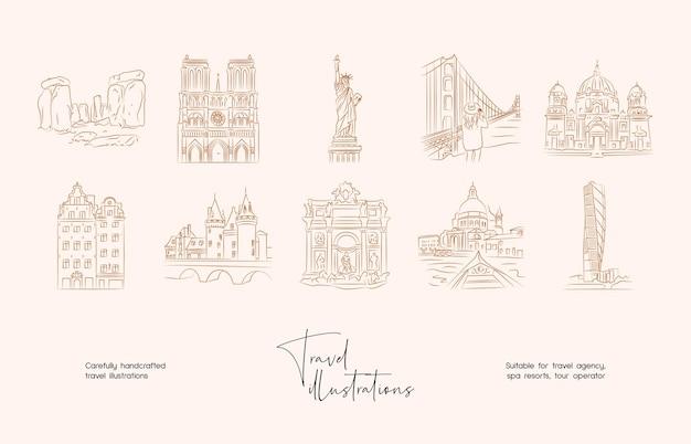 손으로 그린 라인 아트 최소한의 여행 벡터 일러스트 컬렉션