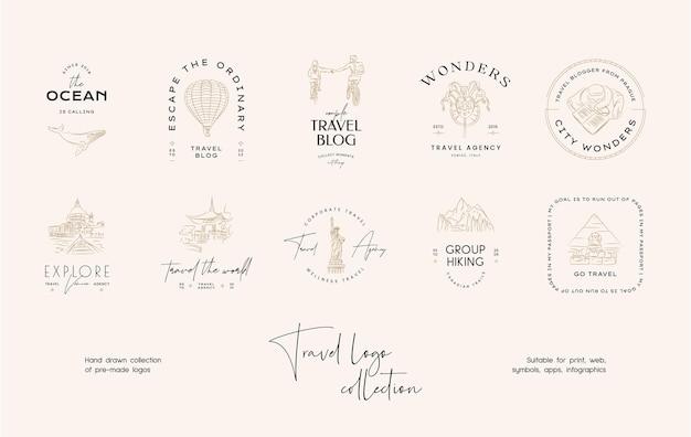 Hand drawn line art minimal travel vector logo design template collection