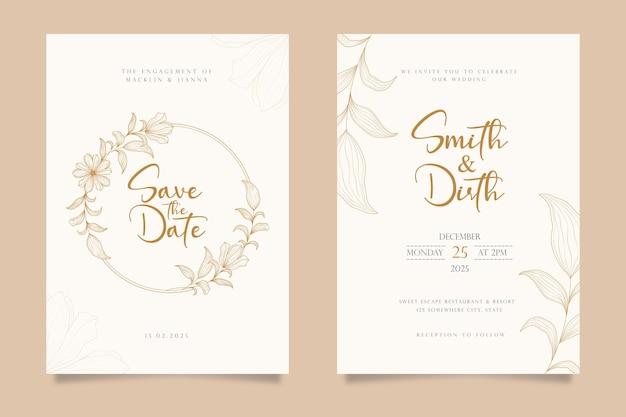 Hand drawn line art style wedding invitation card template design
