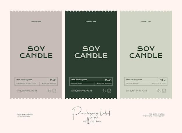 Hand drawn line art vector cosmetics label design template