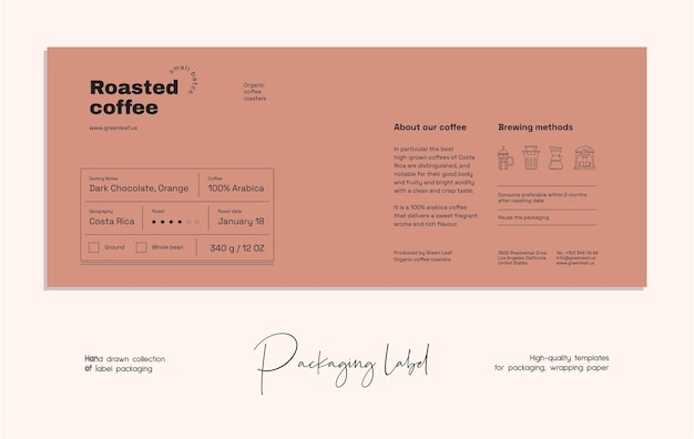Hand drawn line art vector food label packaging design template