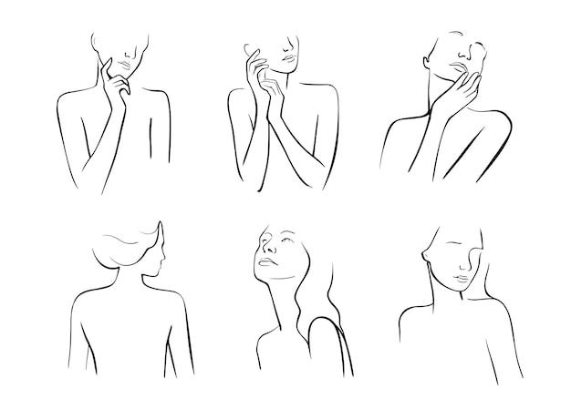 Рука нарисованные линии силуэтов дамы.