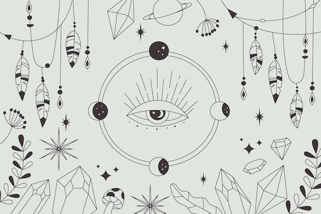 Hand-drawn lineal boho background