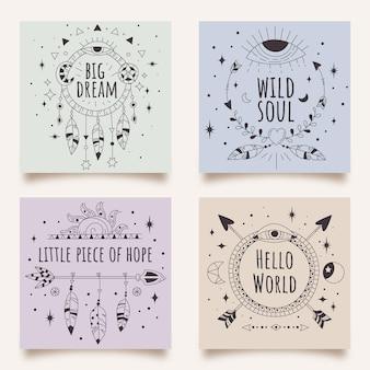 Рисованные линейные открытки в стиле бохо