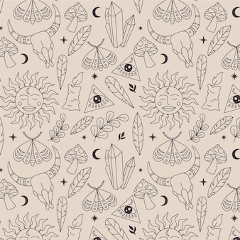 Hand-drawn lineal boho pattern