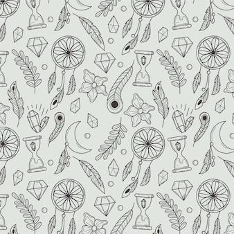 손으로 그린 선형 boho 패턴
