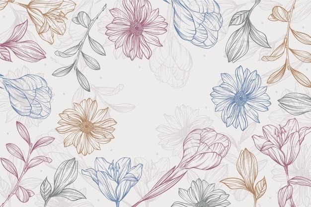손으로 그린 선형 새겨진 꽃 배경