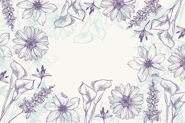 Hand drawn linear engraved floral background