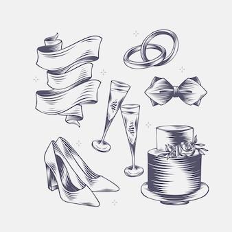 Ручной обращается линейные гравированные свадебные элементы