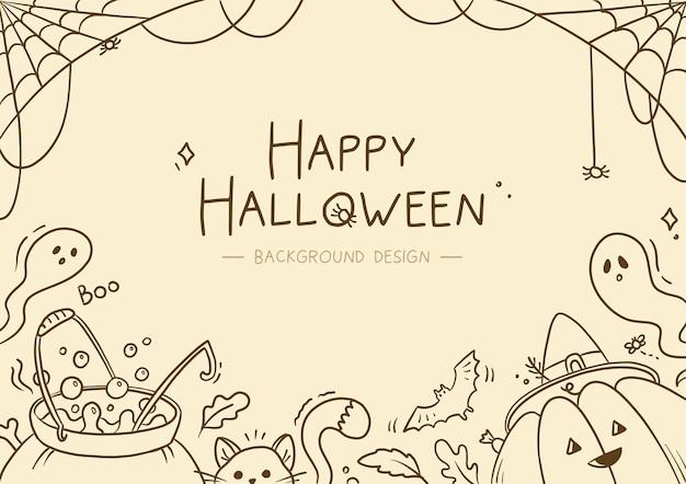Hand drawn linear halloween background